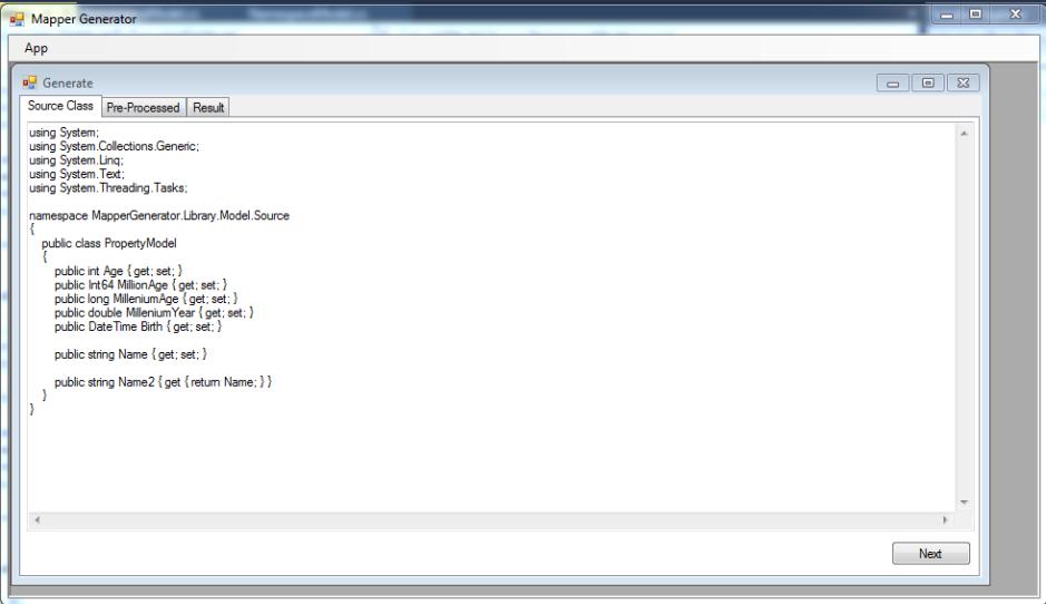 Class model definition put into generator